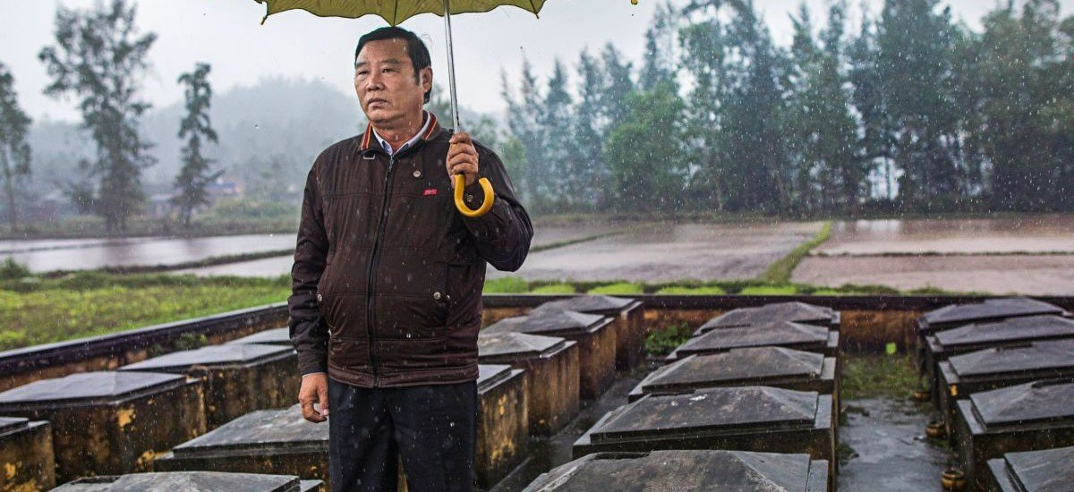 """Pham Thanh Cong, the director of the My Lai Museum, was eleven at the time of the massacre. His mother and four siblings died. """"We forgive, but we do not forget,"""" he said. CREDIT PHOTOGRAPH BY KATIE ORLINSKY"""